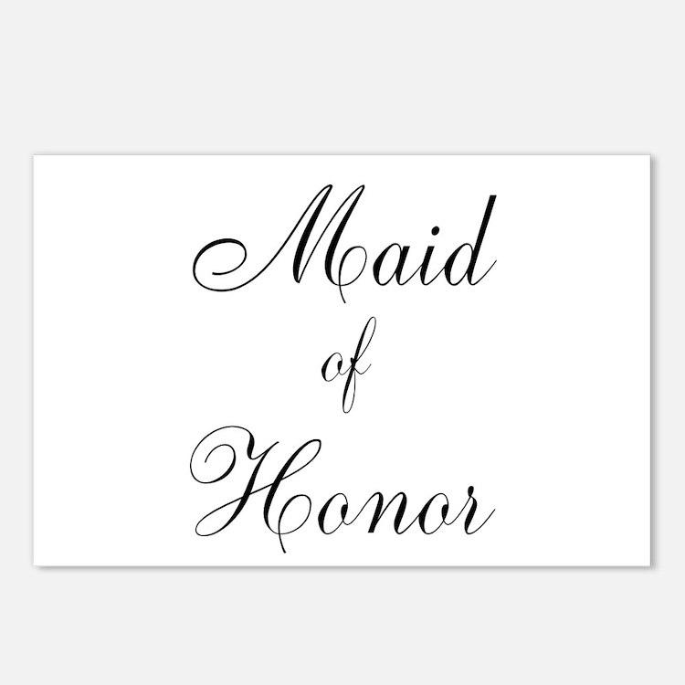 Maid of Honor Black Script Postcards (Package of 8