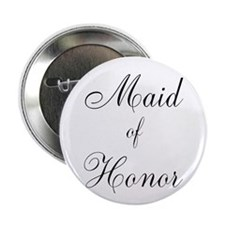 "Maid of Honor Black Script 2.25"" Button (10 pack)"