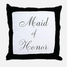 Maid of Honor Black Script Throw Pillow
