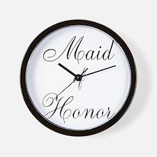 Maid of Honor Black Script Wall Clock