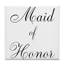Maid of Honor Black Script Tile Coaster