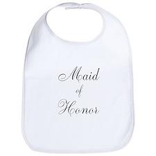 Maid of Honor Black Script Bib