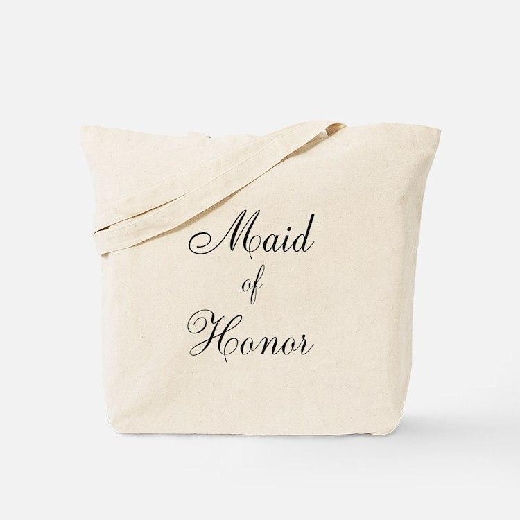 Maid of Honor Black Script Tote Bag