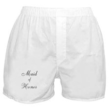 Maid of Honor Black Script Boxer Shorts