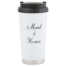 Maid of Honor Black Script Travel Mug