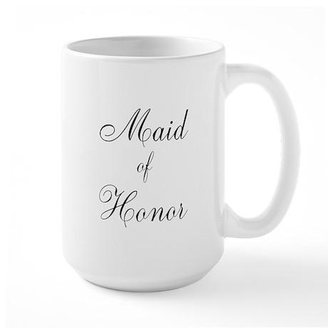 Maid of Honor Black Script Large Mug
