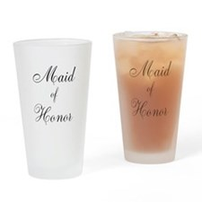Maid of Honor Black Script Drinking Glass