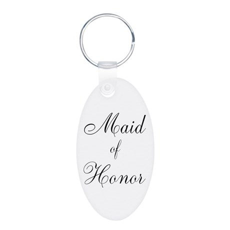 Maid of Honor Black Script Aluminum Oval Keychain