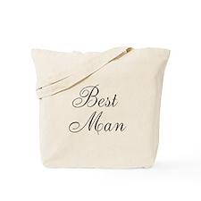 Best Man Black Script Tote Bag