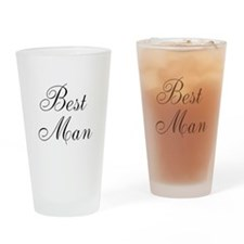 Best Man Black Script Drinking Glass