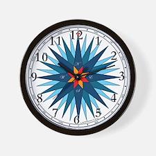 Shades of Blue Compass Rose Wall Clock