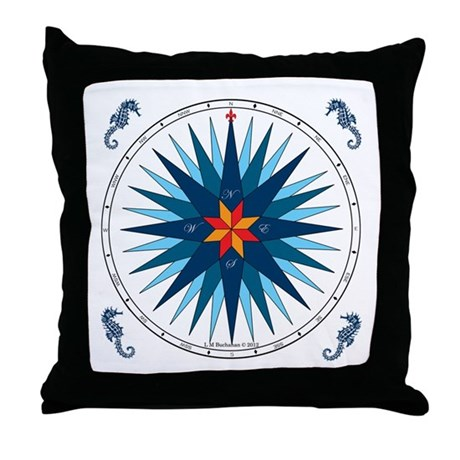 Shades of Blue Compass Rose Throw Pillow