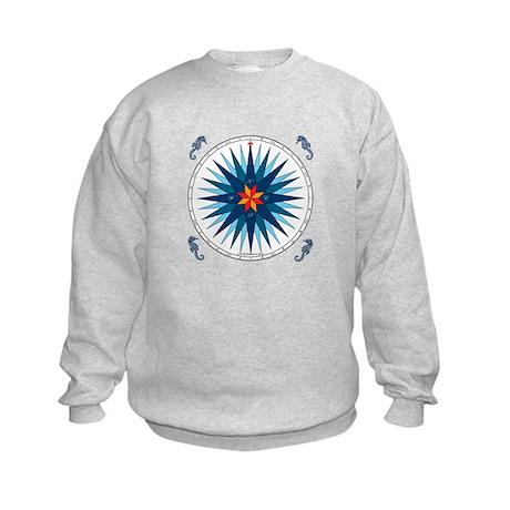 Shades of Blue Compass Rose Kids Sweatshirt