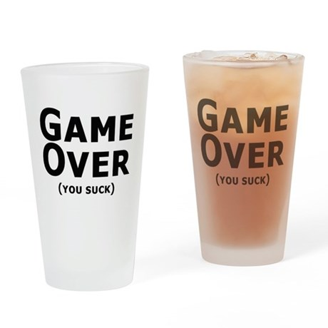 Game Over Drinking Glass