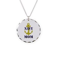 Navy Mom Necklace Circle Charm