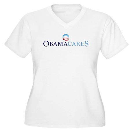 Obama Cares Women's Plus Size V-Neck T-Shirt
