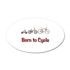 Born to Cycle 38.5 x 24.5 Oval Wall Peel