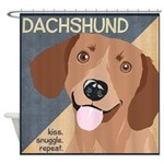 Dachshund-Kiss.Snuggle.Repeat. Shower Curtain