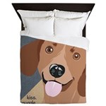 Dachshund-Kiss.Snuggle.Repeat. Queen Duvet