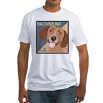 Dachshund-Kiss.Snuggle.Repeat. Fitted T-Shirt