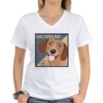 Dachshund-Kiss.Snuggle.Repeat. Women's V-Neck T-Sh