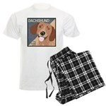 Dachshund-Kiss.Snuggle.Repeat. Men's Light Pajamas