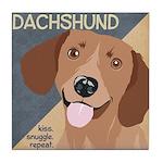 Dachshund-Kiss.Snuggle.Repeat. Tile Coaster