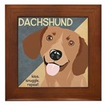 Dachshund-Kiss.Snuggle.Repeat. Framed Tile