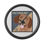 Dachshund-Kiss.Snuggle.Repeat. Large Wall Clock