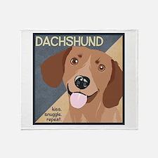 Dachshund-Kiss.Snuggle.Repeat. Throw Blanket