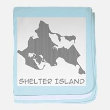 Shelter Island Text baby blanket