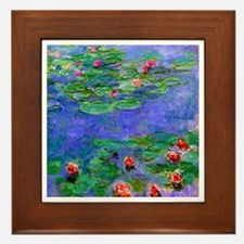 Monet - Water Lilies Red Framed Tile