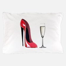 Champagne and Red Stiletto Pillow Case