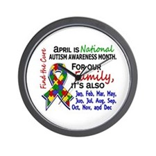 For Our Family 3 Autism Wall Clock