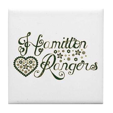 Hamilton Rangers Flower Heart Tile Coaster