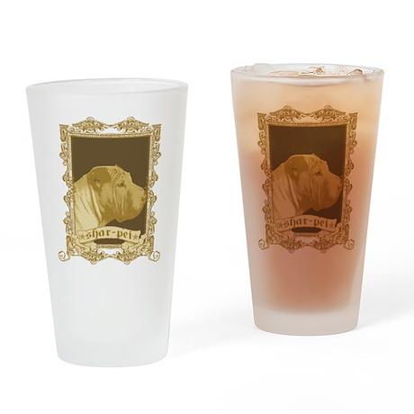 Shar Pei Dog Stamp Drinking Glass