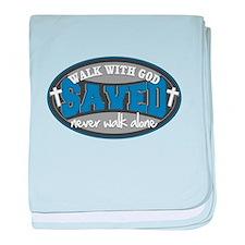 Walk With God(Blue) baby blanket