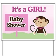 It's a Girl Monkey Baby Shower Yard Sign