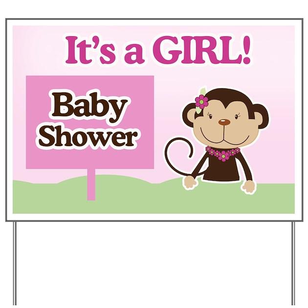 it 39 s a girl monkey baby shower yard sign by artbyjessie