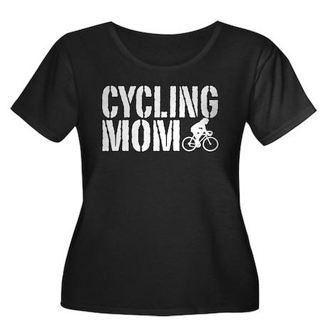 Cycling Mom Women's Plus Size Scoop Neck Dark T-Sh