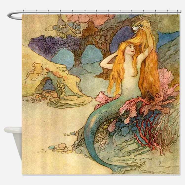 art nouveau mermaid shower curtains | art nouveau mermaid fabric