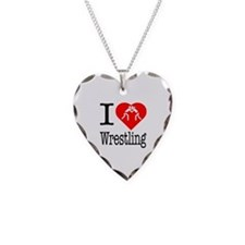 I Love Wrestling Necklace Heart Charm