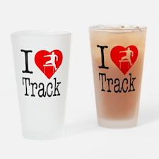 I Love Track Drinking Glass