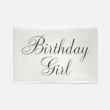 Birthday Girl Black Script Rectangle Magnet (10 pa