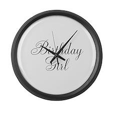 Birthday Girl Black Script Large Wall Clock