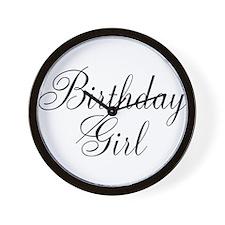 Birthday Girl Black Script Wall Clock