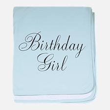 Birthday Girl Black Script baby blanket