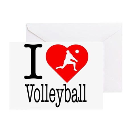 I Love Volleyball Greeting Cards (Pk of 10)