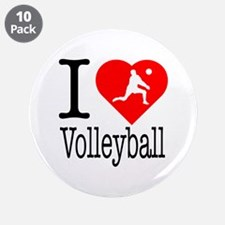 """I Love Volleyball 3.5"""" Button (10 pack)"""