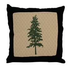 Pine Tree Damask Throw Pillow